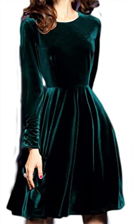 5c9f82cecb16 pujingge Women Sexy Warm Pure Velvet Long-Sleeve Midi Swing Dress Blackish  Green XL