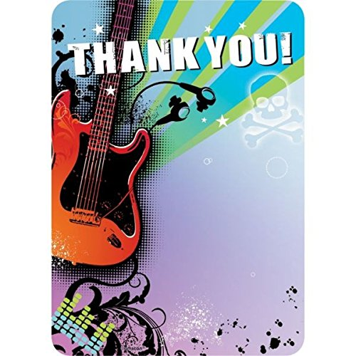 Amscan Rockin' Superstar Thank You Notes Set (40 Piece), Multicolor, 5 1/2