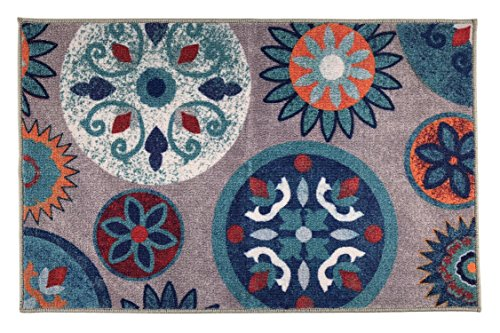 Flowers Modern Rug - Circles and Flowers Mat Area Rug Slip Skid Resistant Rubber Backing Anti Bacterial (Multi Grey, 1'11