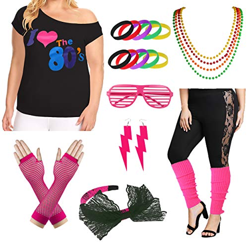 I Love The 80s Halloween Costumes (Plus Size I Love The 80's T-Shirt 1980s Pop Party Women's Costume Set (3X/4X, Hot)