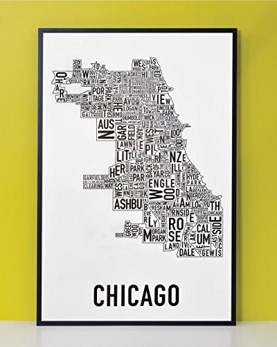 """Framed Chicago Neighborhoods Map, Black & White, 24"""" x 36"""" in Black Frame"""