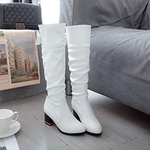 Slouchy Genou Hauts Bottes Taoffen Blanc Talons Chaussures Femmes Classiques tSqwvp7