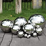 PROKTH Gazing Ball, 300mm Hollow 304 Stainless Steel Exercise Balls gazing Globes Floating Pond Balls Seamless Mirror Ball Sphere gazing balls Gardens Home Ornament Decor