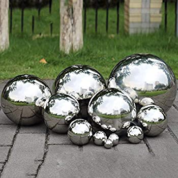 PROKTH Gazing Ball, 300mm Hollow 304 Stainless Steel Exercise Balls Gazing  Globes Floating Pond Balls