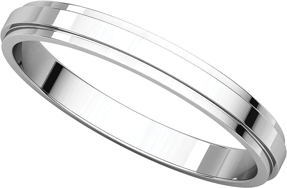 Mens 14K White Gold 2.5mm Flat Edged Wedding Band Ring