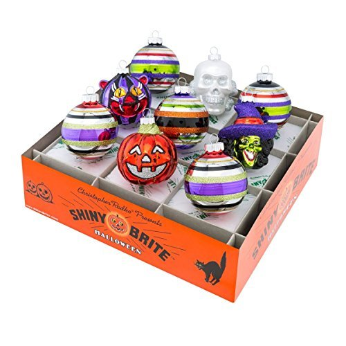 Shiny Brite Halloween Rounds and Figures Ornament - Set of Nine ()