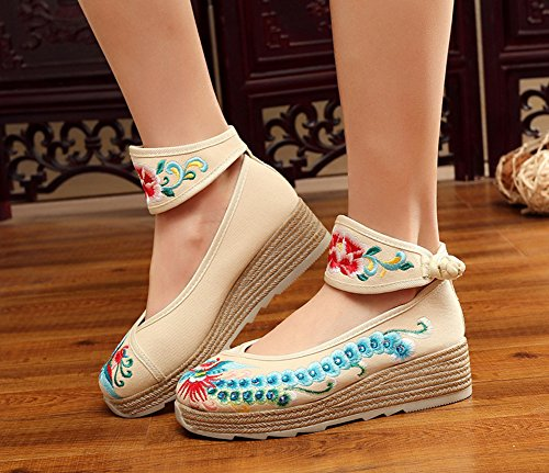 Platform Ankle Women AvaCostume Shoes Band Phoenix Beige Wedge Embroidery Increasing gq7USwq1