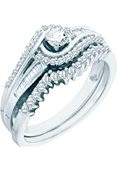 10K White Gold 0.51 Ct Round Diamond Solitaire Engagement Ring