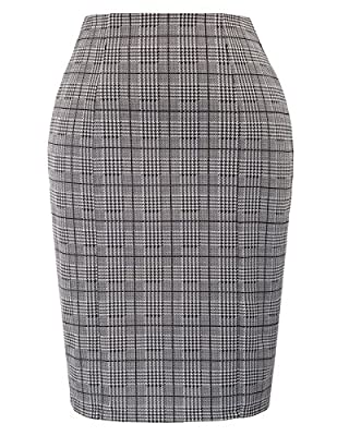 Kate Kasin Womens Elastic Waist Stretch Bodycon Business Pencil Skirt