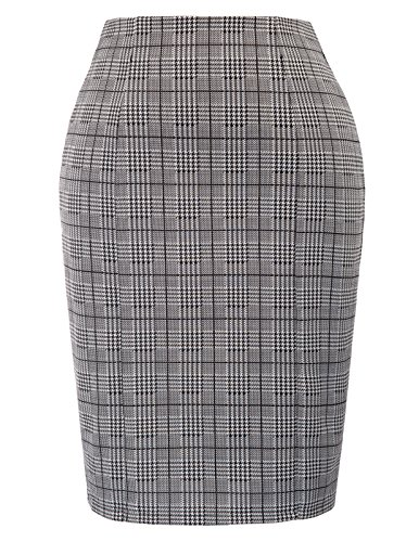 Kate Kasin Womens Vintage Pencil Skirt Bodycon Business Skirt,Grey Size L ()