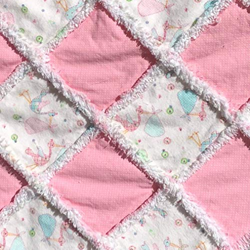 Baby girl rag quilt pink quilt storks and babies flannel baby rag quilt pregnancy gift newborn gift