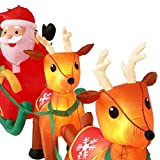 Holiday Indoor/Outdoor Inflatable Santa in Sleigh with Reindeers 16ft. Long Airblown Decoration