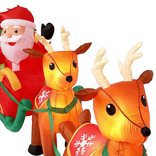 Holiday Indoor/Outdoor Inflatable Santa in Sleigh with Reindeers 16ft. Long Airblown Decoration by Gemmy (Image #1)