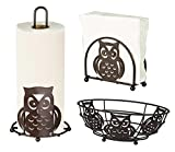 Deluxe Owl Collection 3pc Kitchen Table Décor Set, Napkin Holder, Paper Towel Stand, Fruit Bowl - Bronze