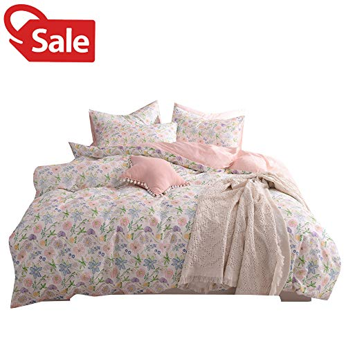 Flower Teen Girls Women Full Bedding Duvet Cover Set Beatuiful Pink Blossom Pattern Floral Queen Comforter Cover 100% Cotton Reversible Lightweight Bedding Collections for Kids Children Teen Students