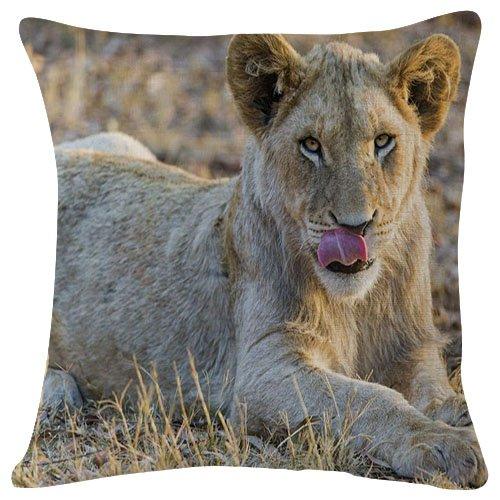 White Lioness Animal - #30564 - Plush Cushion Covers Throw Pillowcases Super Soft Fashion Simple Decorative Pillowcases 18x18 Inches