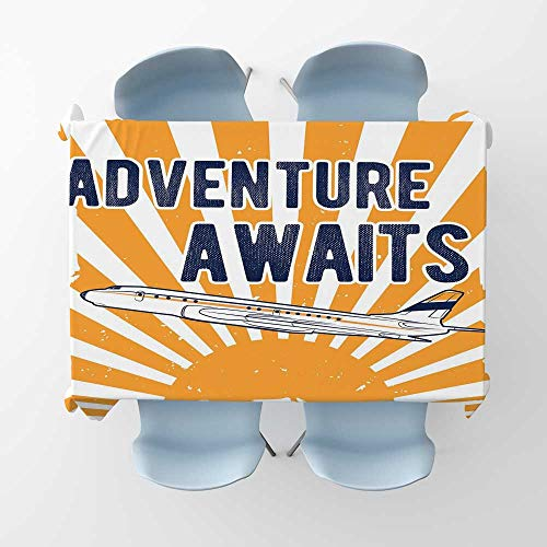 Adventure Fabric Tablecloth Commercial Airplane with Rising Sun Adventure Quote Aviation Journey PrintRectangle/Oblong Table Cover W 50