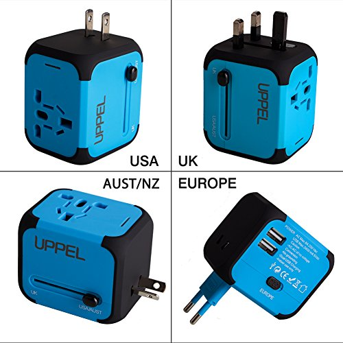Travel USB Uppel Dual USB All-in-one Worldwide Travel Chargers Adapters for US EU UK AU about 150 countries Wall Universal Power Plug Adapter Charger with Dual USB and Safety Fuse(Blue) (British Current Converter compare prices)