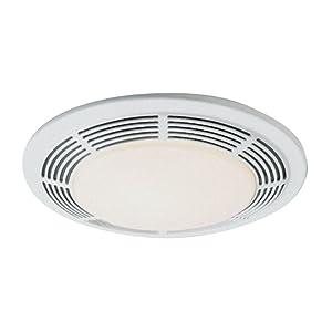 Nutone 8663RP 100 CFM Fan/100-Watt Incandescent Light with Glass Lens, White Polymeric Grille and 7-Watt Nightlight
