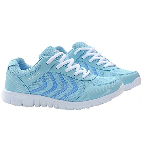 DUOYANGJIASHA Women's Athletic Mesh Breathable Casual Sneakers Lace Up Running Comfort Sports Fashion Tennis Shoes Blue