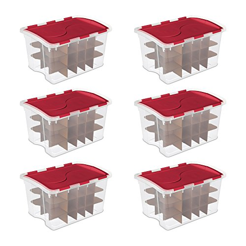Sterilite 6 Pack 48 Quart Hinged Lid 270 Total Holiday Ornament Storage Boxes