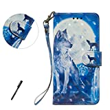 Samsung S7 Edge Wallet Case, Tifightgo 3D Colorful Wolf Printed Phone Case Purse PU Leather Wallet Case Card Holder Bookstyle Flip Cover Case with Stand for Samsung Galaxy S7 Edge