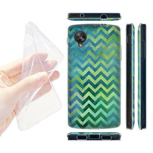 Head Case Designs Blue Watercolour Chevron Soft Gel Back Case Cover for LG Google Nexus 5 D820 D821