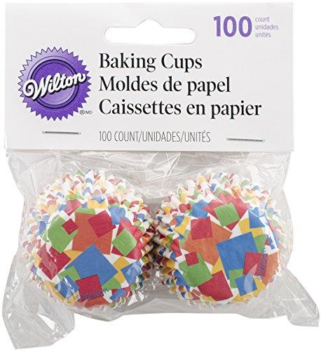 Wilton 415-2852 100 Count Geometric Confetti Mini Baking Cups, Assorted