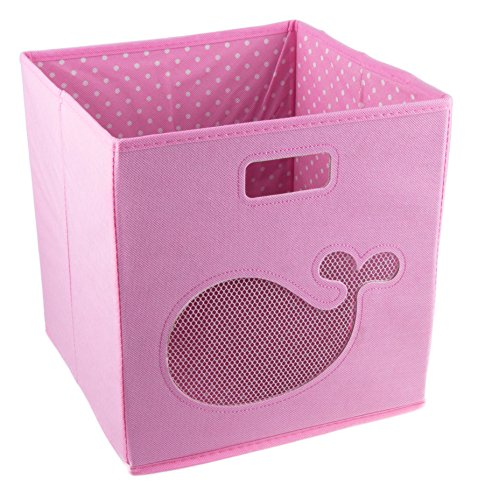 Clever Creations Pink Whale Collapsible Storage Organizer Cube Folding Storage Organizer for Animal Themed Rooms   Perfect Size Storage Cube for Books, Shoes, Games