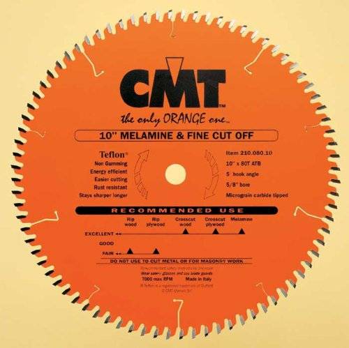 CMT 210.060.08 Industrial Fine Cut-Off Saw Blade, 8-Inch x 60 Teeth 40° ATB Grind with 5/8-Inch Bore, PTFE Coating