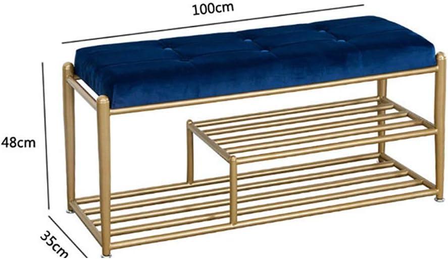 YZjk Asientos tapizados Largos y tapizados con otomana con Estructura de Metal y Asiento Acolchado (Color: Azul, tamaño: 100x35x48cm): Amazon.es: Hogar