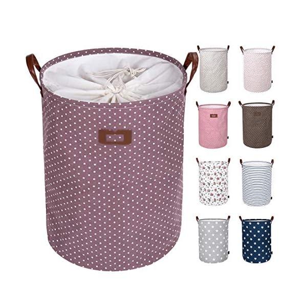 51euJl3N70L DOKEHOM 19-Inches Verdickte Faltbare Runde Lagerung Wäschekörbe, Baumwolle (Violett, L) EINWEG