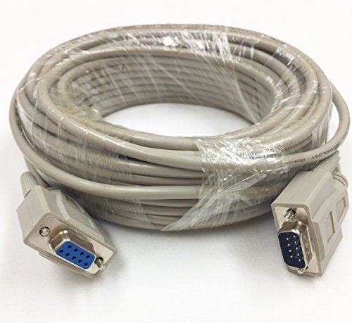 100 Foot DB9 Male to Female RS232 Extension Serial Cable - 28 AWG Shielded