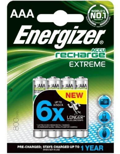 Energizer - Pilas recargables AAA de 800 mAh, 4 unidades