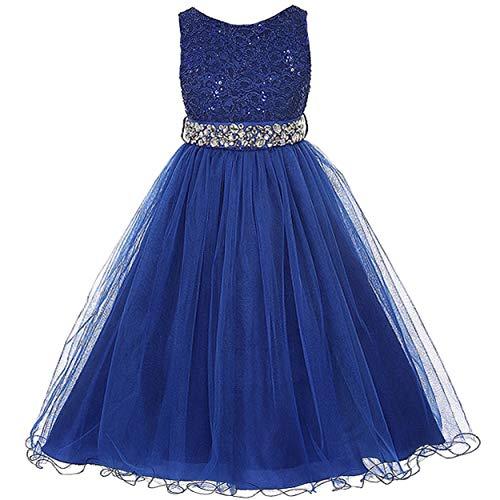 EMERCLY Sleeveless Sparkling Rhinestone Waistline Tea Length Girls Dress - Royal Blue Size 12