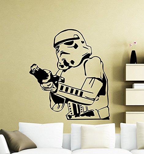 Stormtrooper With Gun Wall Decal Star Wars Logo Movie Vinyl Sticker Home Nursery Kids Boy Girl Room Interior Art Decoration Any