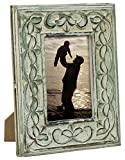 """PHOTO FRAME 4x6"""" - SouvNear Photo Picture Frame in Shabby Chic Green Washed Frames with Stand Solid Wood - Decorative Antique Look Distressed Finish – Perfect Gifts Ideas"""