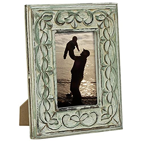 souvnear photo frame 4x6 photo picture frame in shabby chic green washed frames with stand solid wood decorative antique look distressed finish - Wooden Picture Frames In Bulk