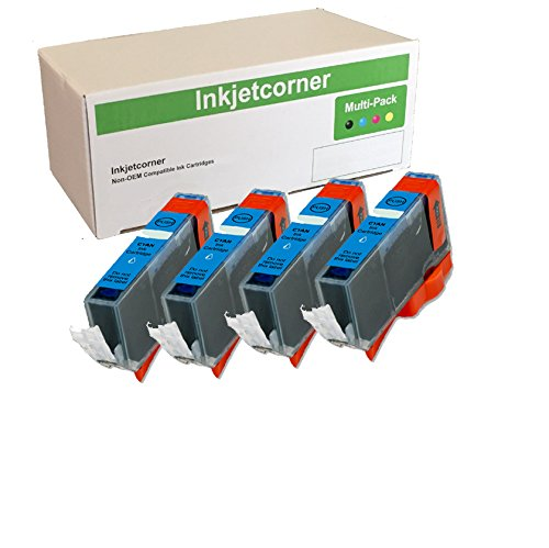 Inkjetcorner 4 Pack Cyan Compatible Ink Cartridge with chip replacement for CLI-226 CLI-226C Series iX6520 MG5120 MG5220 MG5320 MX882 MX892