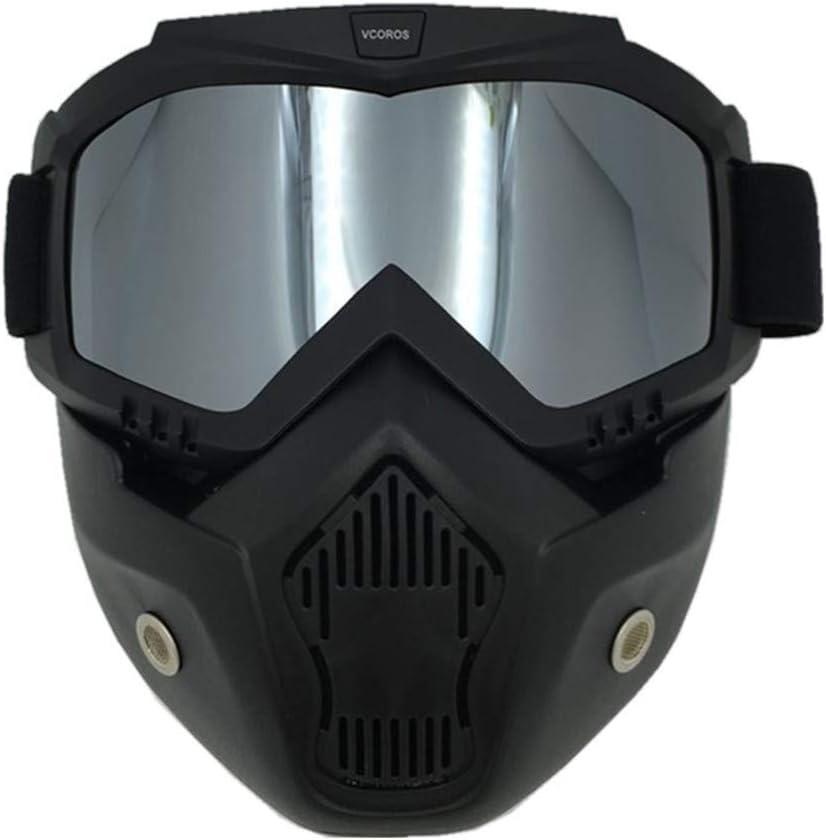 VCOROS MG1 Skull Mask Motorcycle Helmet Goggles Detachable Windproof Face Mask Black Frame Smoke Lens