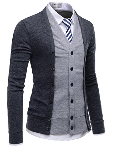 NEARKIN (NKNKCD139 Slim Cut Look 2 Tone Layered Button Cardigan Sweater for Men Charcoal US XS(Tag Size XS)