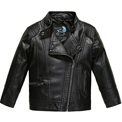 Budermmy Boys Faux Leather Motorcycle Moto Biker Jackets Zipper Coats Black Size 8