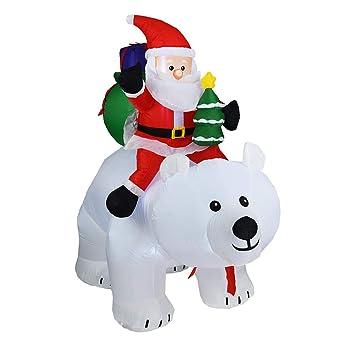 Navidad Inflable Papá Noel Montando el Oso Polar con La Cabeza Sacudida Para la Decoración Del Jardín Del Patio Interior/Exterior de Navidad, 300 Cm