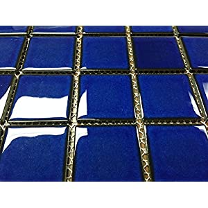 """Vogue Premium Quality 2"""" x 2"""" Cobalt Blue Square Pattern Porcelain Mosaic Tile on Mesh on 12x12 sheet, Designed in Italy (1)"""
