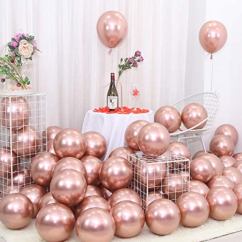 Chrome Metallic Rose Gold Balloons for Party 50 pcs 12 inch Thick Latex Balloons for Rose Gold Baby Bridal Shower Birthday Party Decorations