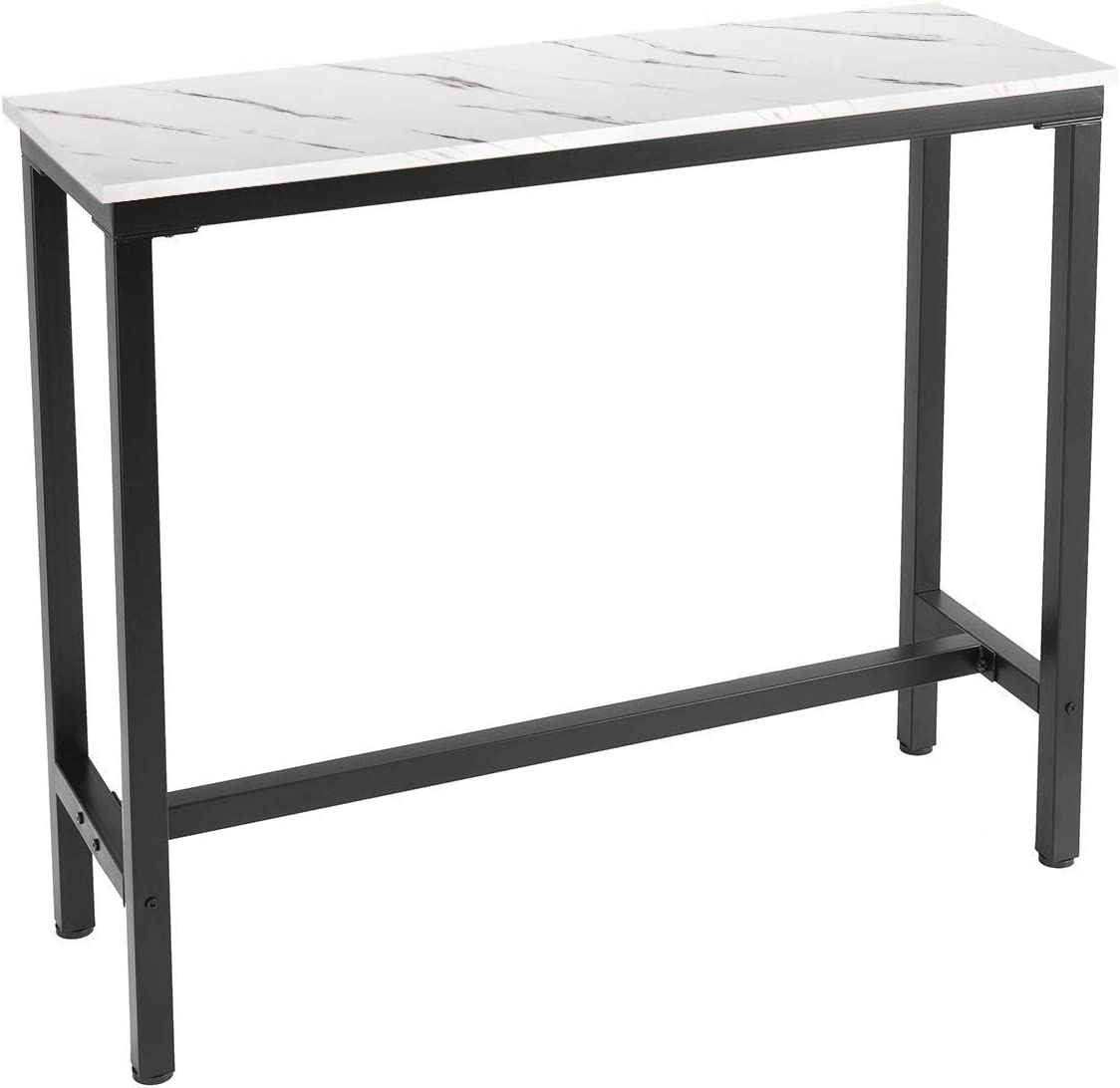 Mr IRONSTONE 47 Pub Dining Table, Bar Height Table with MDF Top Covered with Laminate Marble Indoor USE ONLY