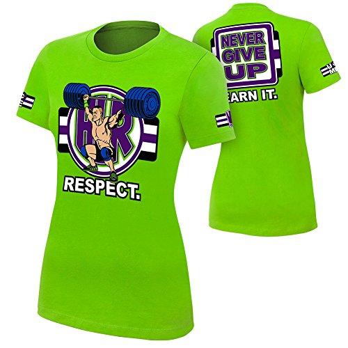 WWE John Cena Cenation Respect Women's T-Shirt Lime Green Medium by WWE Authentic Wear