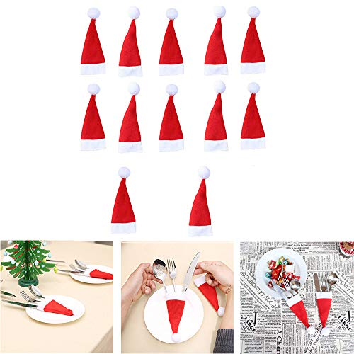 Mike Franklins 12Pcs Christmas Hat Storage Tool, Christmas Decorative Tableware Fork Set, Christmas Eve Decorations Ornaments Gifts (12pcs)