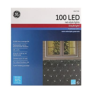 5 ft x 4 ft. GE Christmas StayBright LED 100 lt. 5.5mm Net Light