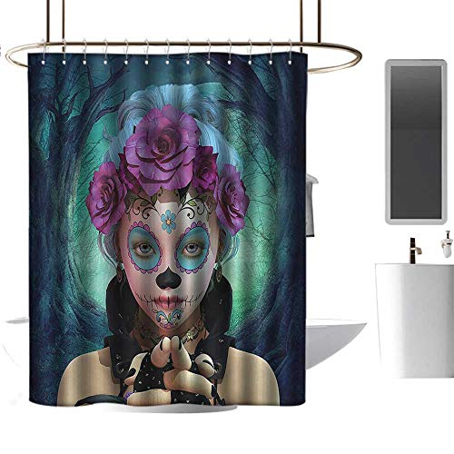homehot Shower Curtains Black and White Kids Horror,Scary Clown Like Girls Showing her Hands with Gloves an Flowers in Her Head Print,Multicolor,W72 x L84,Shower Curtain for Bathroom -